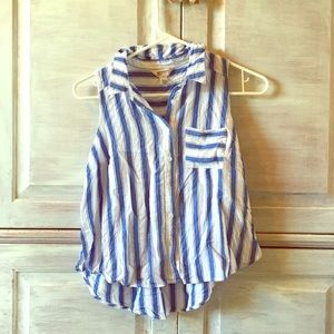 White and blue striped button up tank top